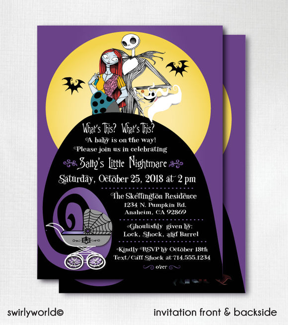 Digital Nightmare Before Christmas  Halloween Baby Shower Bundle Set. Invitations, Thank You's, Favor Tags, Diaper Raffle, Banner, & More!