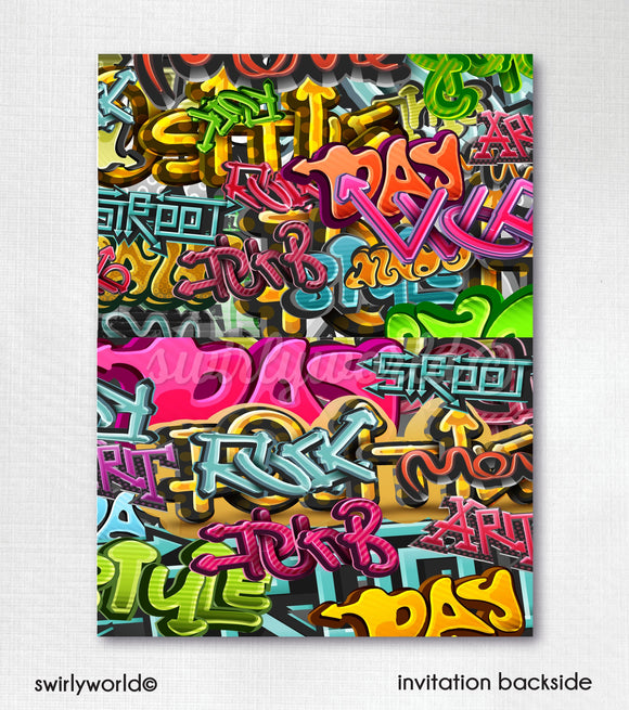 Hip Hop Graffiti Old School 90's Rap Printed 40th Birthday Party Invitations