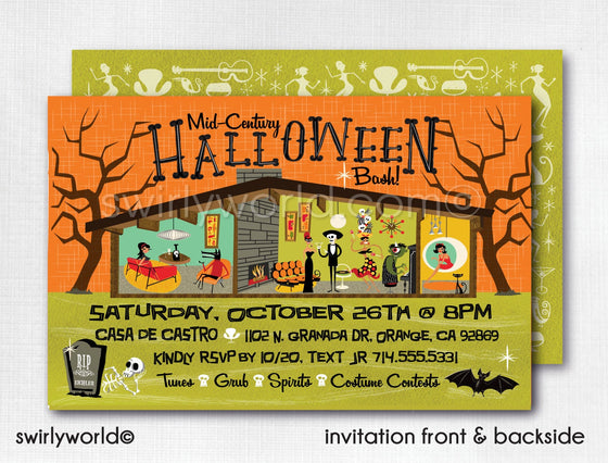 DIGITAL Retro Mod Eichler Halloween Party Invitations, Mid Century Modern Halloween Party Invites, Cocktail Retro Modern Halloween Party