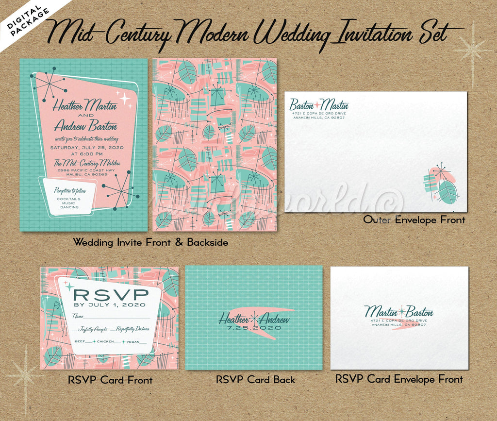 Pink Fifties Atomic Mod Mid-Century Modern Wedding Invitation and RSVP Card