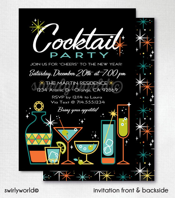 Retro Mid Century Modern Design. Atomic Modern Cocktail Party. 1950's Style Retro Cocktail Party Invitations. Printed Cocktail Party Design