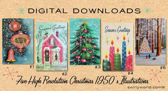 DIGITAL Vintage Pink Christmas Card Bundle. 1950's Style Holiday Designs. Retro Vintage Style Christmas Card Designs. 1950s Atomic Modern