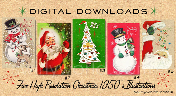 DIGITAL Vintage Christmas Card Bundle. 1950's Style Holiday Designs. Retro Vintage Fifties Style Christmas Card Designs. 1950s Santa Claus