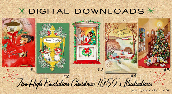 DIGITAL Vintage Christmas Card Bundle. 1950's Style Holiday Designs. Retro Vintage Fifties Style Christmas Card Designs. 1950s House