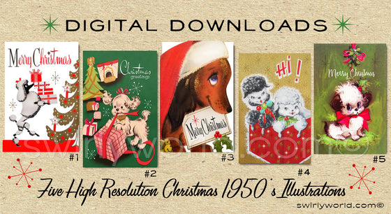 DIGITAL Vintage Dog Christmas Card Bundle. 1950's Style Puppy Christmas. Retro Vintage Fifties Cat Christmas  Designs. 1950s Dogs