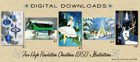 DIGITAL Vintage Blue Christmas Card Bundle. 1950's Style Holiday Designs. Retro Vintage Style Christmas Card Designs. 1950s Atomic Modern
