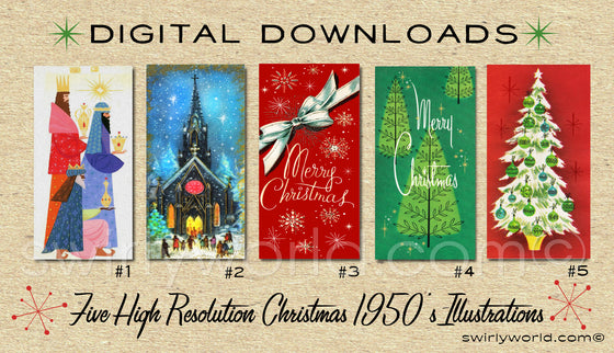 DIGITAL Vintage Christmas Card Bundle. 1950's Style Holiday Designs. Retro Vintage Fifties Style Christmas Card Designs. 1960s Christmas