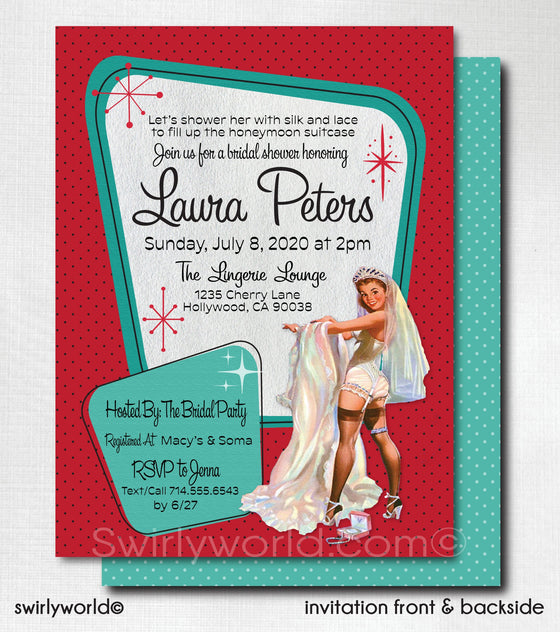 Retro Pin-Up Bridal Shower Invitations, Pink Retro Bridal Shower Invites, Unique Bridal Shower Invitations for Rockabilly Bride