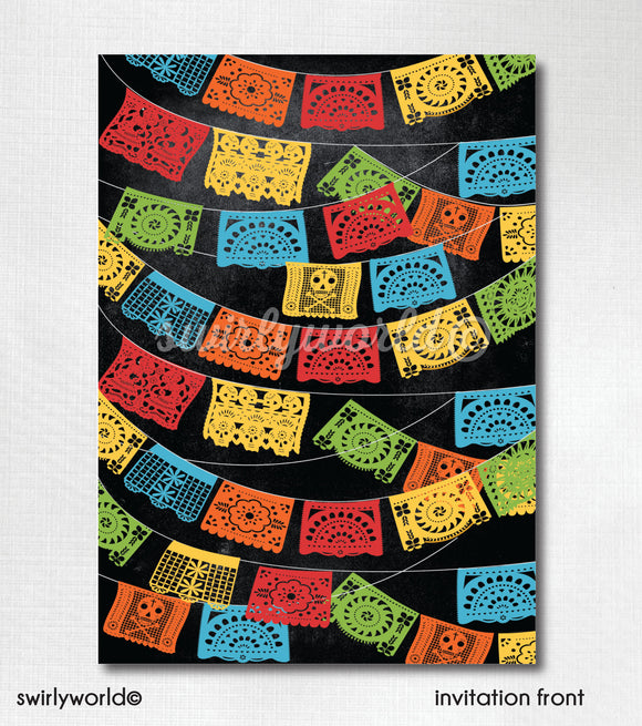 "Mexican Fiesta ""Papel Picado"" Paper Flag 40th Birthday Party Invitations for Digital Download"