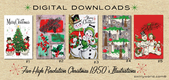 DIGITAL Vintage Christmas Card Bundle. 1950's Style Holiday Designs. Retro Vintage Fifties Style Christmas Card Designs. 1950s Snowman