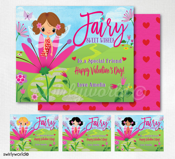 Cute Pixie Woodland Fairy Happy Valentine's Day Printable Digital Download