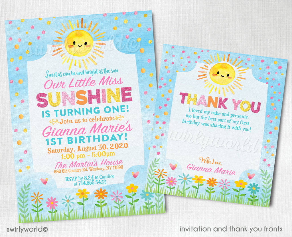 "Digital ""You Are My Sunshine"" Birthday Invitations & Thank You Cards, Little Miss Sunshine 1st Birthday Invitations for Girl. First Birthday"