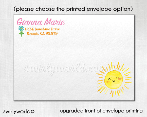 You Are My Sunshine Little Miss Sunshine 1st Birthday Party Printed Invitations