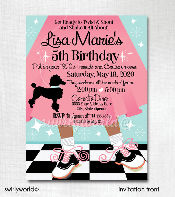 1950s Retro, Rock Around the Clock, Sock Hop, Poodle Skirt Birthday Party Invitation Digital Download.