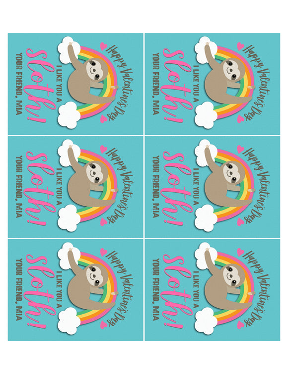 "Cute Rainbow ""I like you a Sloth"" Sloth Valentine's Day Cards for Girls"