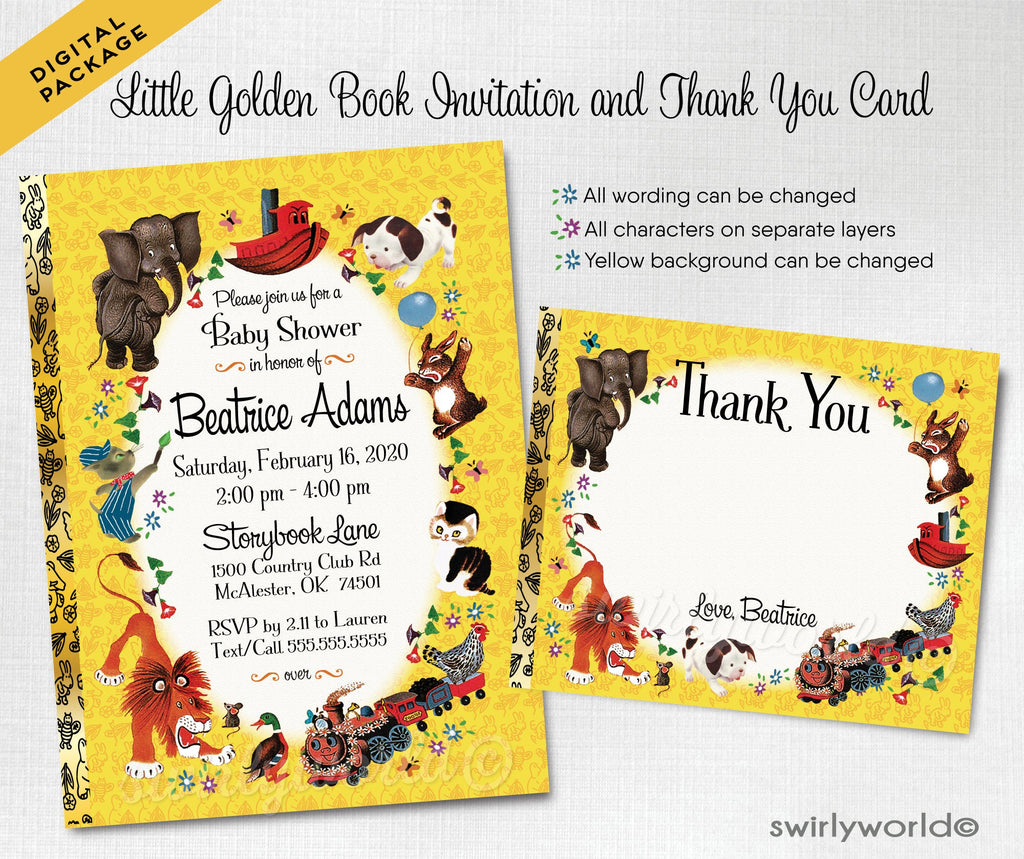 Digital Vintage Little Goldenbook Baby Shower Invitations and Thank You Cards, Little Golden Book Baby Shower, Golden Book Thank You Cards. Pokey Little Puppy. Shy Little Kitten. Nursery Rhymes.