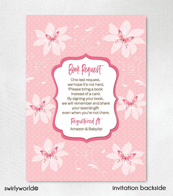 Pink It's a Girl Butterfly Butterflies Couples Baby Shower Invitation and Thank You Card Digital Download Bundle