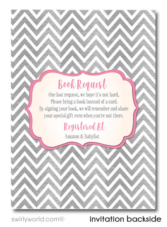 "Pink and Silver ""It's a Girl"" Unique Baby Shower Digital Invite & Thank You Card Download Bundle"