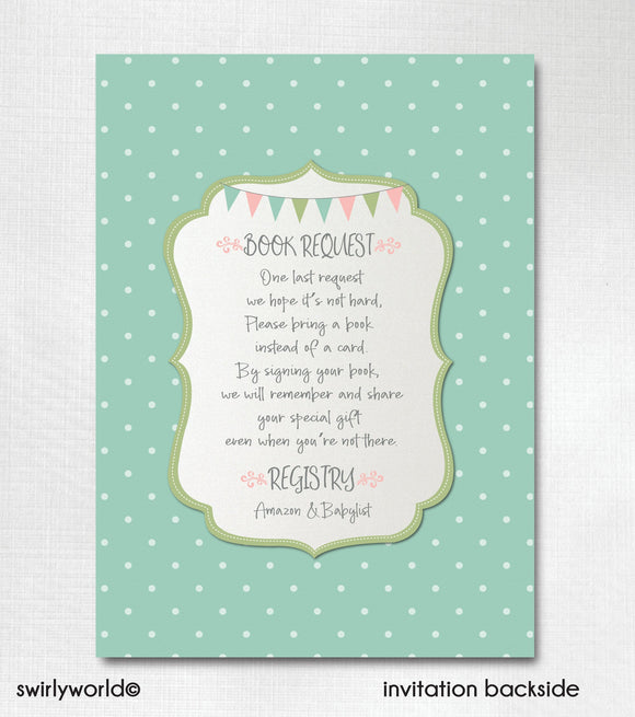 Vintage Carousel Pink and Mint Green Girl Baby Shower Invitation and Thank You Card Digital Download Bundle