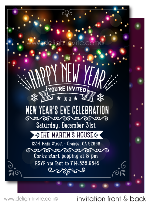 Retro Lights New Years Party Invitations
