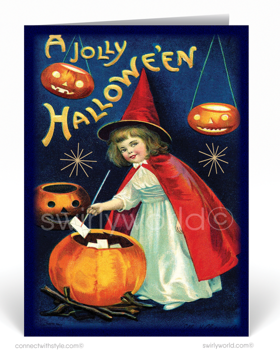 Vintage Art Deco 1930's Retro Witch Halloween Greeting Card Digital Download