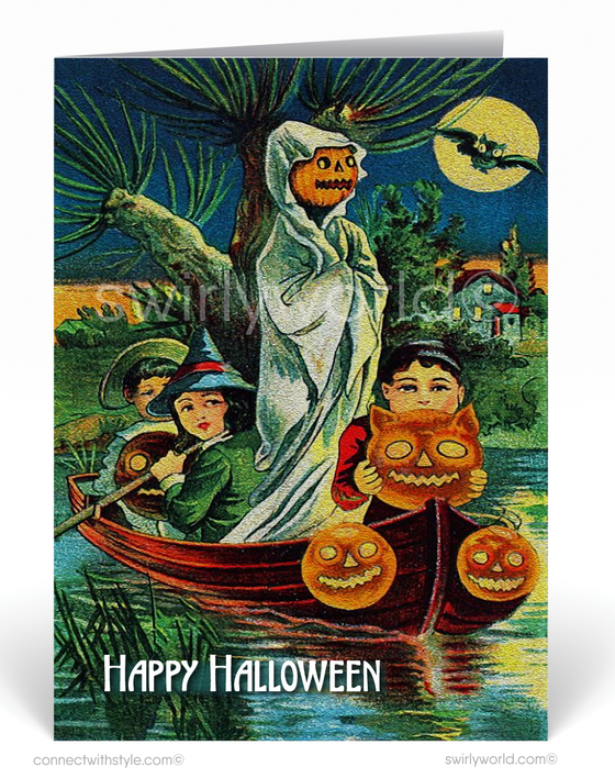 Vintage 1920's Retro Witch Pumpkin Halloween Greeting Card Digital Download