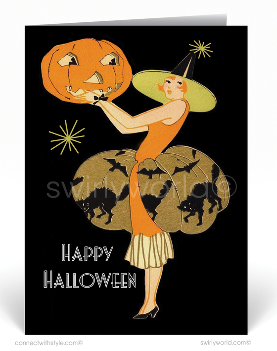 vintage art deco 1920s style halloween cards