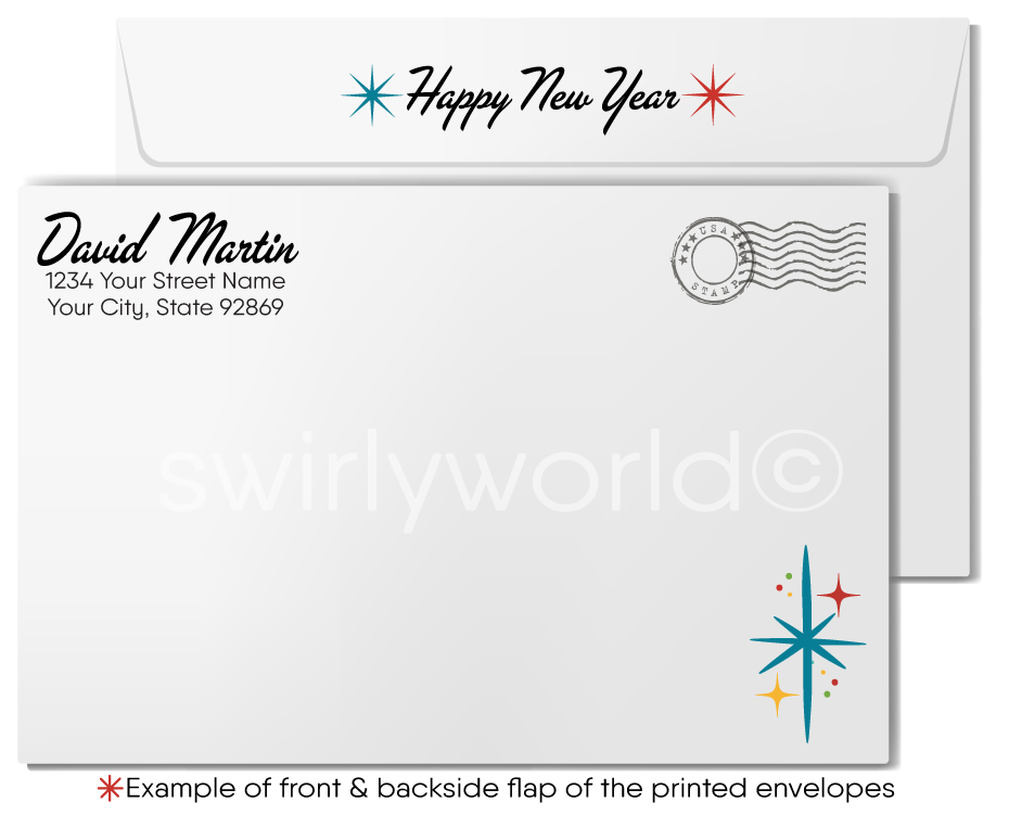 2021 Retro Mid-Century Modern Happy New Year Greeting Cards