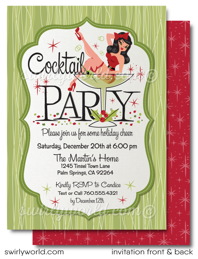 Retro 1950's Pin-up Rockabilly Christmas Cocktail Party Invitations