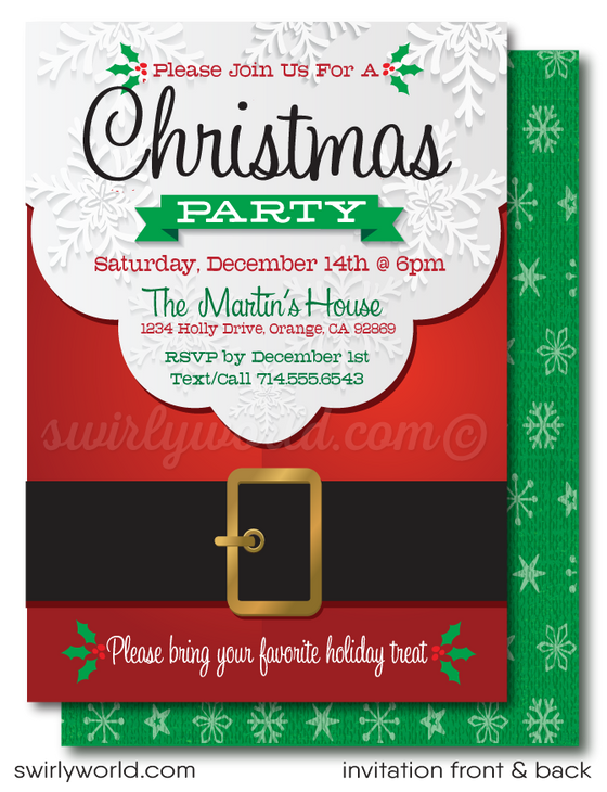 Retro Modern Santa Claus Christmas Holiday Party Invitations