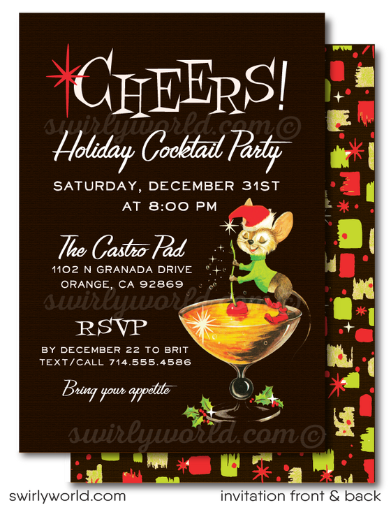 Atomic Mid-Century Modern 1950s Christmas Cocktail Party Invitations