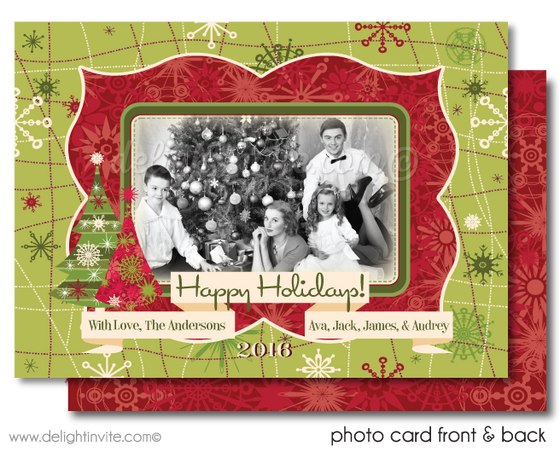 Retro Atomic Modern Christmas Holiday Family Collage Photo Cards Printed