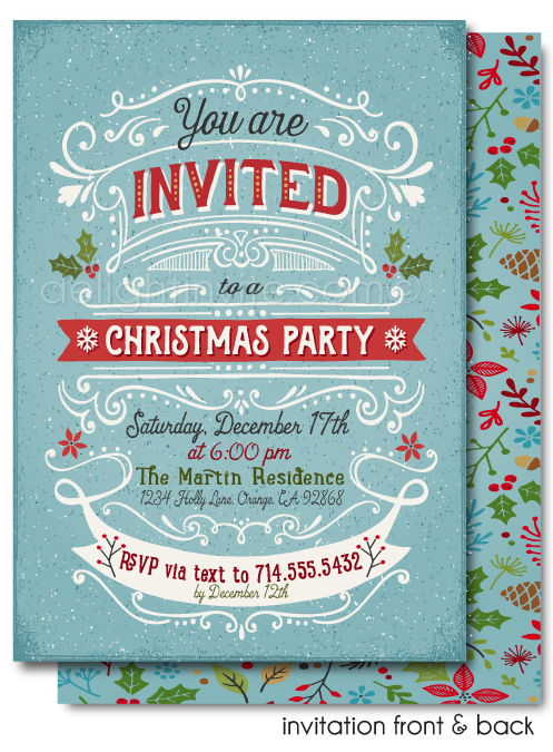 Botanical Vintage Holiday Christmas Party Invitations