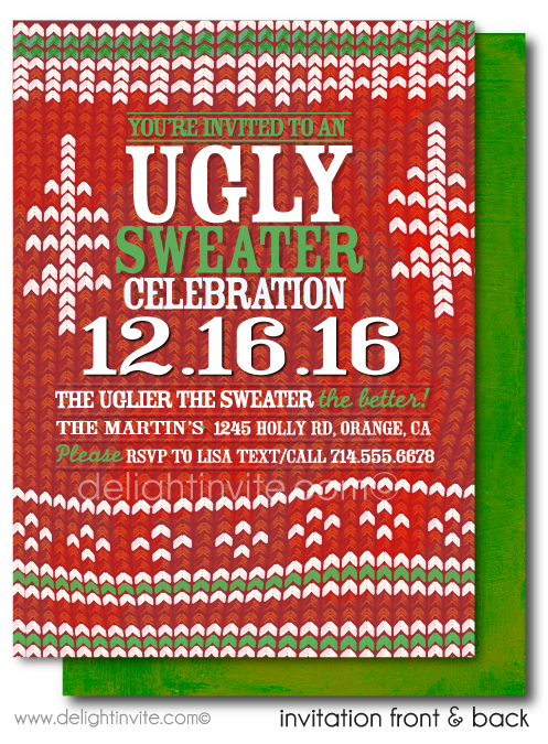 Ugly Sweater Holiday Christmas Dinner Party Invitations