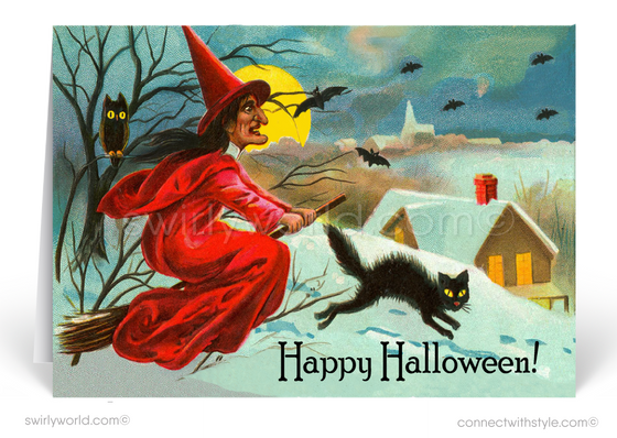 1930's Vintage Art Deco Retro Witch Halloween Greeting Card Digital File Download