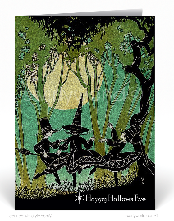 Vintage 1920's Art Deco Retro Witch Halloween Greeting Card Digital Download