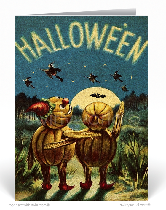 Vintage 1930's Retro Pumpkin Witch Halloween Greeting Card Digital Download