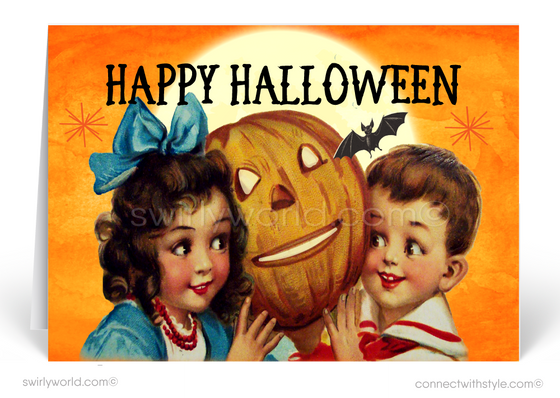 Mid-Century Modern Retro Vintage 1950's Halloween Greeting Card Digital Download