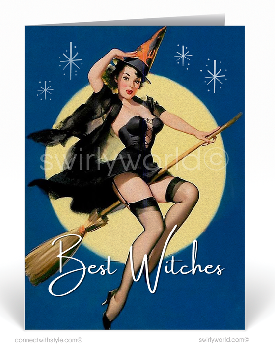 Vintage Pin-up Girl 1950's Mid-Century Mod Retro Halloween Card Digital Download