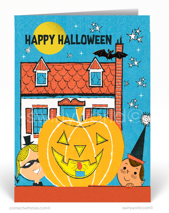 Vintage 1960's Mid-Century Modern Retro Halloween Card Digital Download
