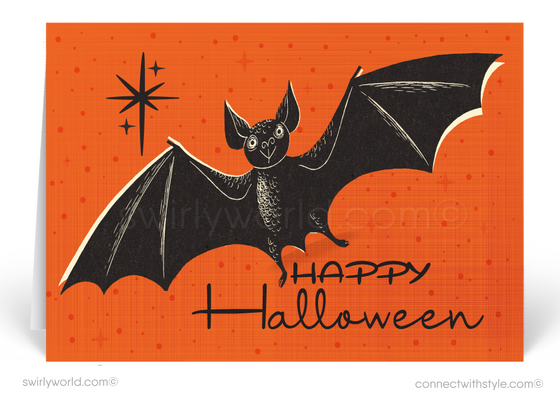 1950's Mid-Century Modern Vintage Bat Halloween Greetings Card Digital Download