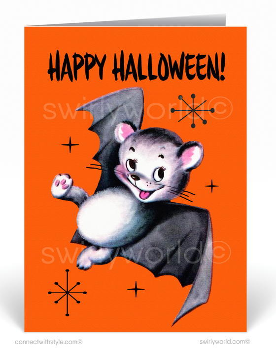 Vintage 1950's Style Mid-Century Modern Halloween Card Digital Download