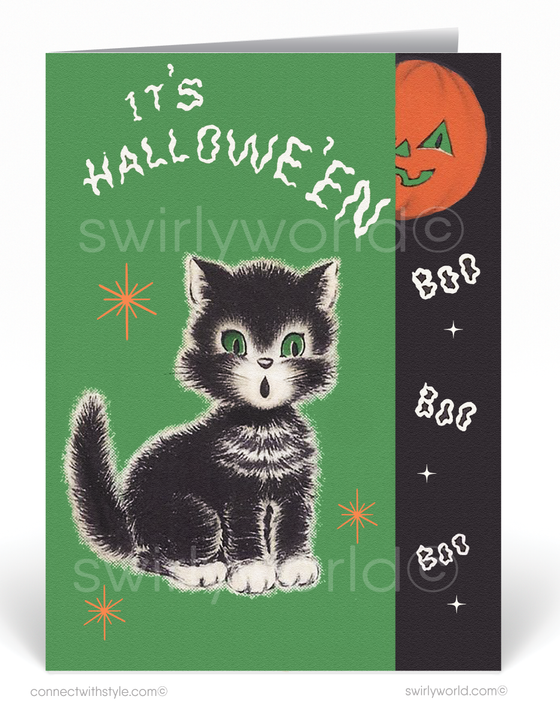 1950's Vintage Mid-Century Modern Retro Halloween Greeting Card Digital Download