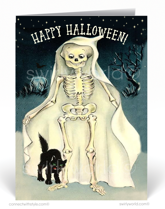 1950's Vintage Mid-Century Modern Retro Ghost Halloween Card Digital Download