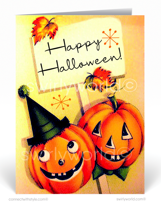 1950's Vintage Mid-Century Modern Retro Pumpkins Halloween Card Digital Download