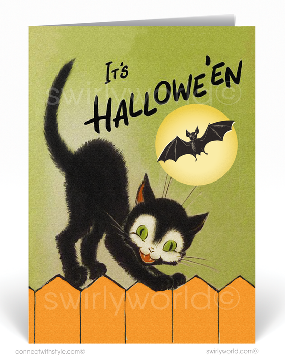 1950's Vintage Mid-Century Modern Atomic Retro Black Cat Halloween Card Digital Download