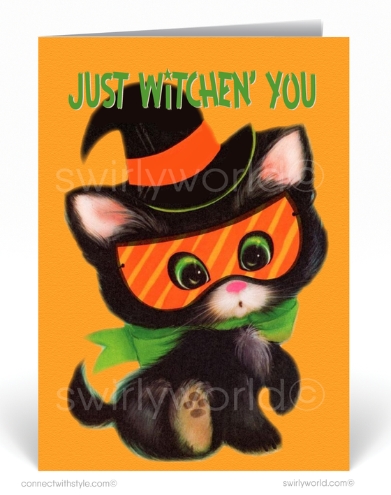 1950's Vintage Mid-Century Modern Atomic Retro Black Cat Halloween Digital Download