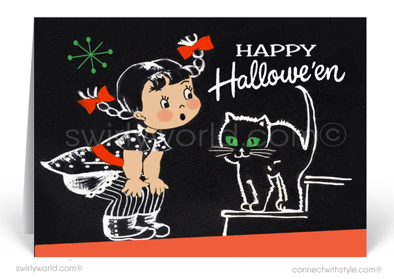 1950's Mid-Century Vintage Retro Black Cat Halloween Card Digital File Download