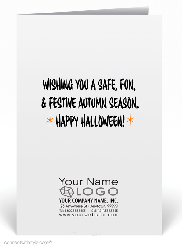 Vintage 1950's Style Mid-Century Retro Modern Halloween Card Digital Download
