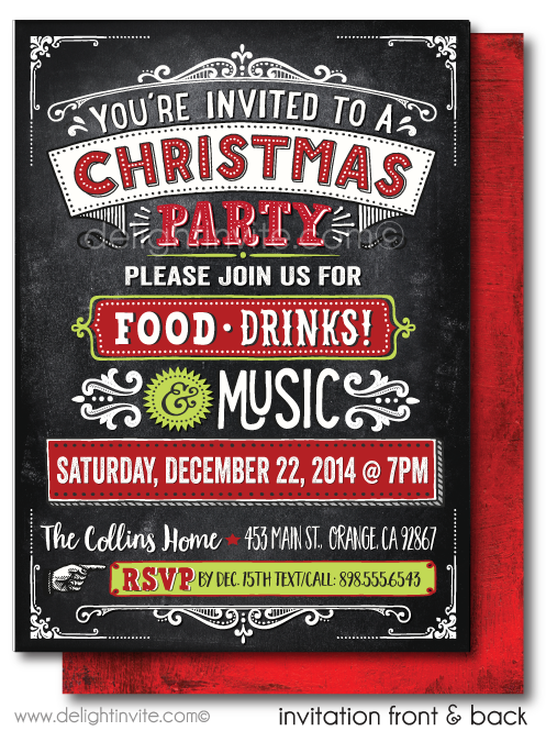 Rustic Holiday Christmas Party Invitations